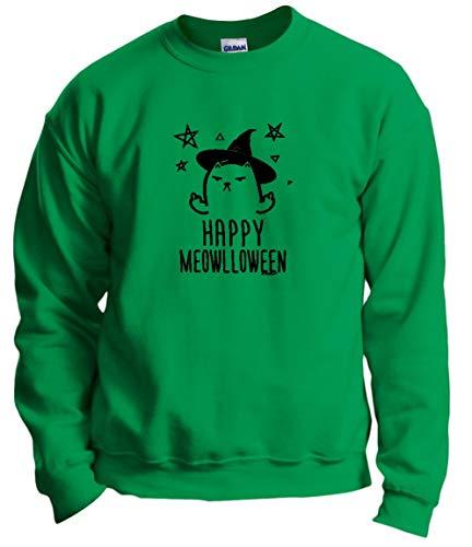Halloween Lover Funny Cat Halloween Top Funny Happy Meowlloween Witch Cat Crewneck Sweatshirt 3XL -