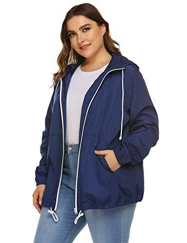 IN'VOLAND Women's Plus Size Raincoat Rain Jacket Lightweight Outdoor Windbreaker Waterproof Coat Jacket with Hood
