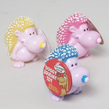 DOG TOY VINYL PORCUPINE WITH SQUEAKER 3 COLORS IN PDQ, Case Pack of 63 by DollarItemDirect (Image #1)