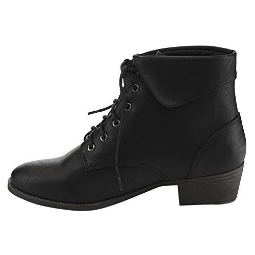 TOP Moda EC89 Women's Foldover Lace Up Low Chunky Heel Ankle Booties (9, Black)