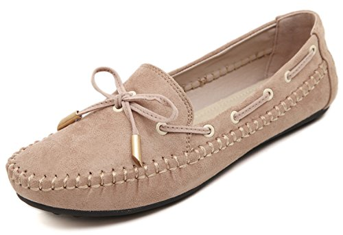 t Flat Loafers, Camel Beige Suede Gold Pendant Lace Low Top Comfy Bows, Anti-Slip Rubber Outsole with Memory Feet Support Insole Sneakers Prime Chic Moccasin Shoes ()