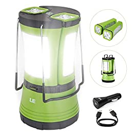 LE LED Camping Lantern Rechargeable, 600LM, Detachable Flashlight, Perfect Lantern Flash Light for Hurricane Emergency…