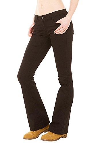 Cindy H Denim New Ladies Womens Black Low Rise Hipster Bootcut Flared Stretch Jeans Flares US 2 (UK 6)