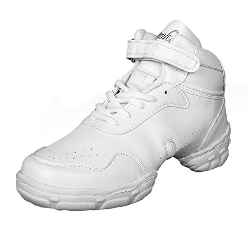 Roymall Män Och Kvinnor Vitt Läder Boost Dans Sneaker / Modern Jazz Ballroom Prestanda Dansgymnastiksportskor, Modell Wzj-ds, 5b (m) Oss