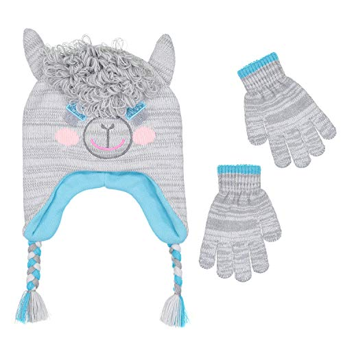 girls-knitted-animal-beanie-winter-hat-and-glove-set-4015-lama-hat