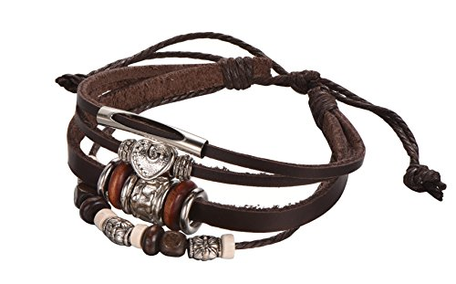 Casual Strand Bracelet (Brown Leather Rope Multi-Strand Bracelet, Adjustable, Unisex & Casual, with Metal Alloy Beads, By Regetta Jewelry)