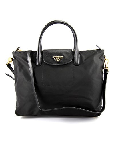 Prada BN2106 Nero Black Tessuto Saffian Nylon and Leather Shopping Tote - Shopping Prada Bag