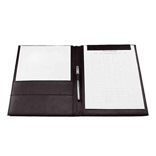 FakeFace Konferenzmappe Aktenmappe A4 Dokumentenmappe mit Ringbuch, Schreibmappe aus hochwertigem PULeder/Ordnungsmappe mit Magnet, perfekter Organizer für Bürobedarf (Schwarz/Braun)