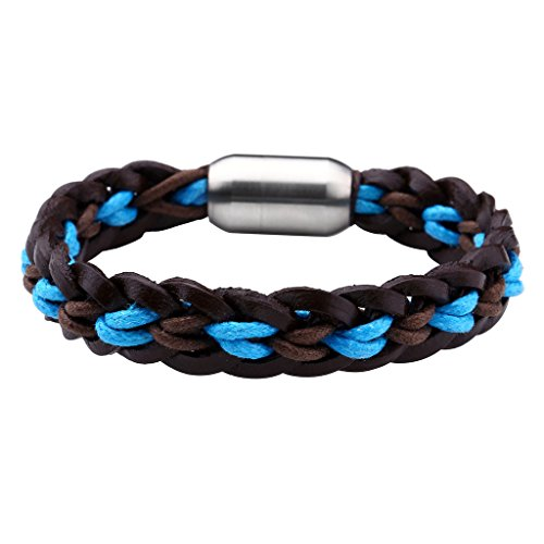 Jovivi Unisex Blue Brown Genuine Leather Essential Oils Aromatherapy Diffuser Braided Bracelet with Magnetic Buckle