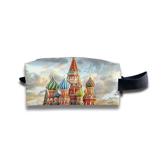 V5DGFJH.B Clash Durable Zipper Wallet Makeup Handbag with Wrist Band Red Square Moscow Toiletry Bag
