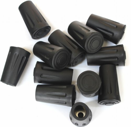 Price comparison product image Columb Replacement Rubber Tip Protector Flex Walk Tip for Hammers Hiking Poles, 12 Pack (A Dozen)