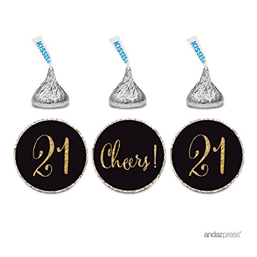 Andaz Press Gold Glitter Print Chocolate Drop Labels Stickers, Cheers 21, Happy 21st Birthday, Anniversary, Reunion, Black, 216-Pack, Not Real Glitter, For Hershey's Kisses Party Favors