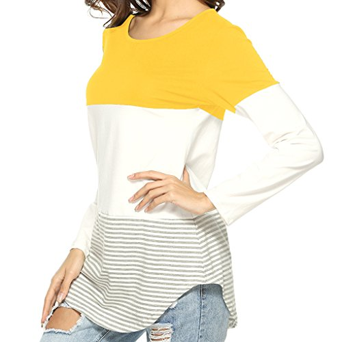 Longues Casual Tops Shirt Rayures Fille Femmes col Masterein Automne jaune Splicing T Manches Rond gwIFcq6p