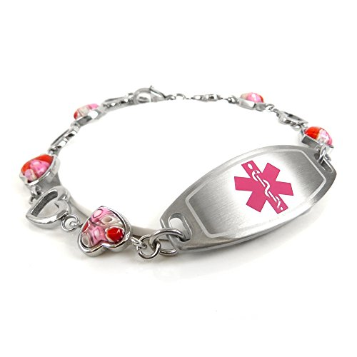 MyIDDr Womens Medical ID Bracelet with Free Engraving - 1.2cm Steel & Glass Hearts - Pink by My Identity Doctor