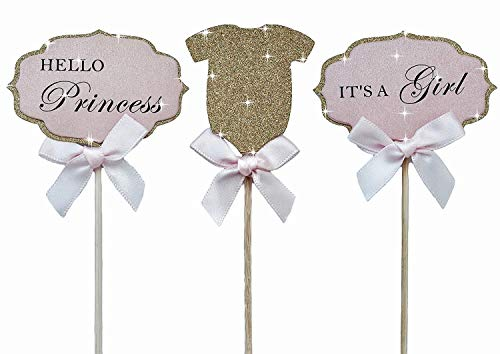 Mother&Fabulous Baby Girl Cupcake Toppers Its A Girl & Hello Princess  & Gold Glitter Suit with Elegant Pink Bow. A Special Baby Girl Shower Decoration - 36 - Glitter Princess Pink