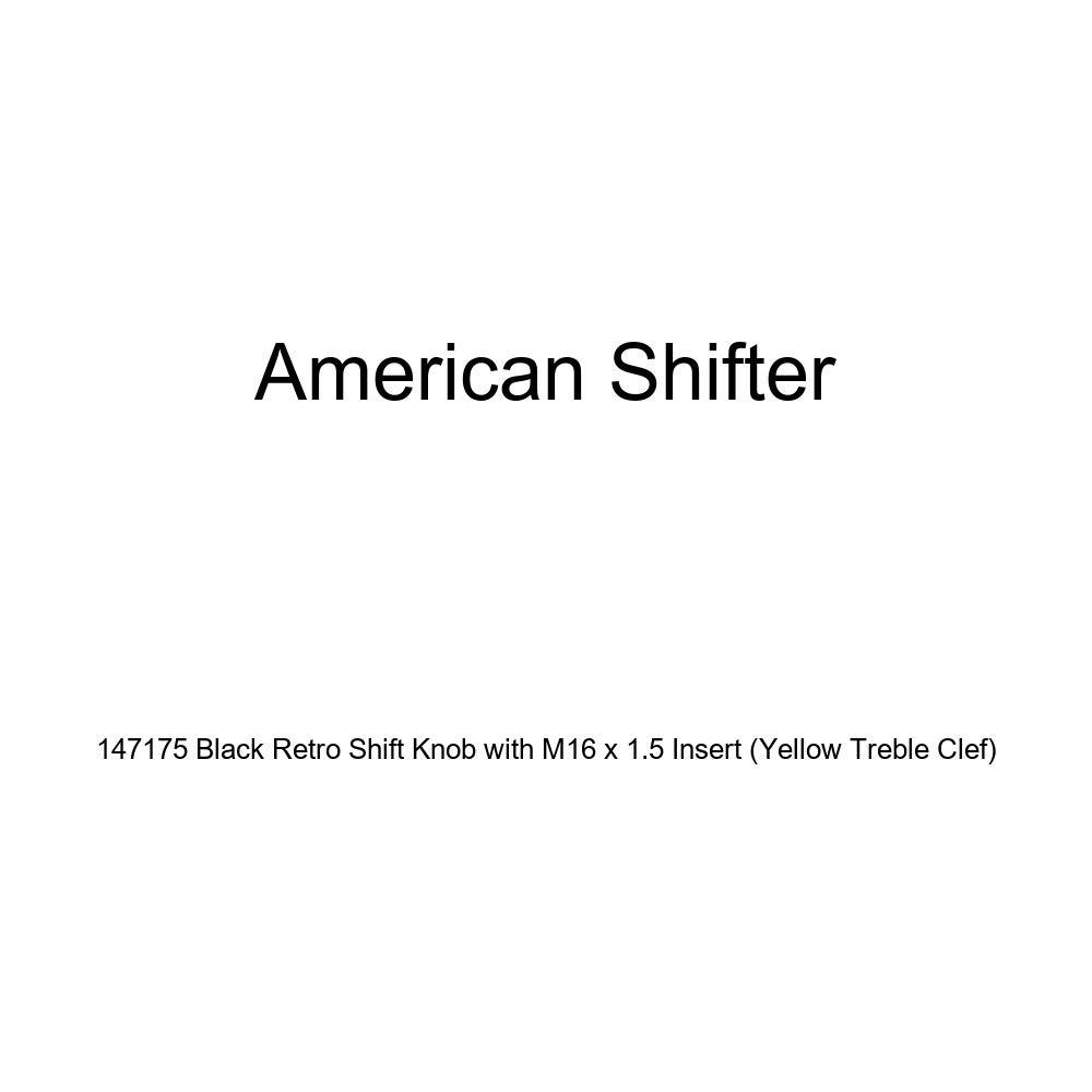 American Shifter 147175 Black Retro Shift Knob with M16 x 1.5 Insert Yellow Treble Clef
