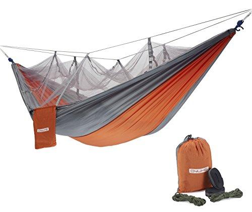 (QYUHE Camping Hammock with Net Portable Nylon Fabric Travel Double Hammocks for Outdoor Hiking Backpacking Backyard Beach 8.53 x 4.6 ft)