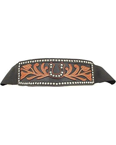 Ariat Women's Wide Stretch Horseshoe Belt,Black,M