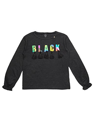 Replay Girls Black Longsleeved T-Shirt With Ruffle Detail in Size 14 Years Black by Replay