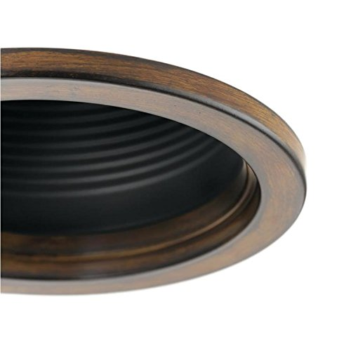 Fits Housing Diameter: 4-in Kichler Barrington Distressed black and wood Baffle Recessed Light Trim