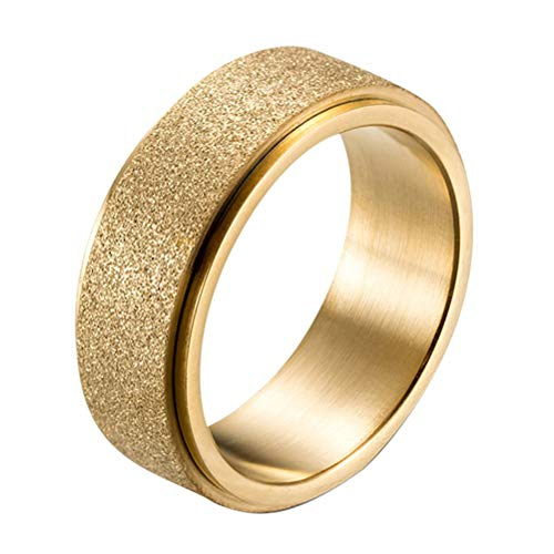 IFUAQZ Men's Women's 8MM Stainless Steel Spinner Ring Sandblast Finish Gold Plated Engagement Wedding Rings Band, 8MM Gold Size 11