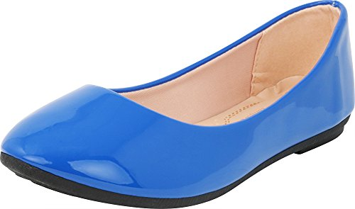 Cambridge Select Women's Classic Closed Round Toe Slip-On Ballet Flat,10 B(M) US,Blue Patent Pu