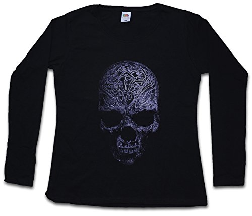 ORNAMENT SKULL II DAMEN GIRLIE LANGARM T-SHIRT – Schädel Dead Totenschädel Totenkopf Tattoo Art Rockabilly Skeleton Roses Artist Flash Death Reaper Bones Oldschool Größen XS - 2XL