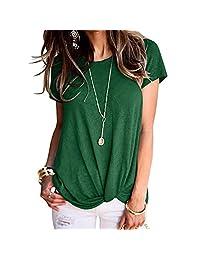 AIEason Blusa de Moda para Mujer, Color sólido, Manga Corta, de Verano, Cuello Redondo, túnica Casual
