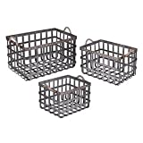 Galvanized Woven Metal Baskets, Set 3