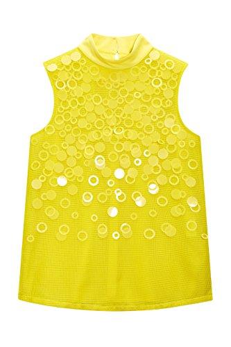next Mujer Top Sin Mangas Lentejuelas Regular Camiseta Ropa Amarillo