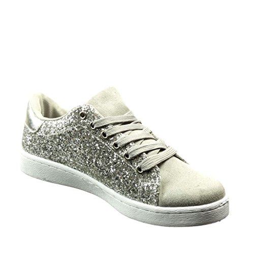 Angkorly - damen Schuhe Sneaker - Tennis - bi-Material - Strass - Stern flache Ferse 2 CM - Silber
