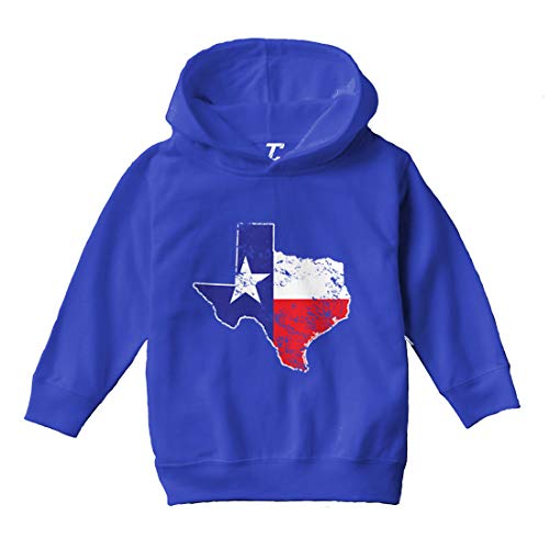 Texas Map - Texan State Pride Cool Toddler/Youth Fleece Hoodie (Royal Blue, 2T (Toddler))