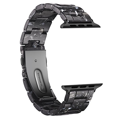 Link Band Plastic (Wongeto Band Compatible with Apple Watch Band 42mm 44mm Series 4/3/2/1 Women Men with Stainless Steel Buckle, iWatch Replacement Wristband Strap (Black, 42mm/44mm))