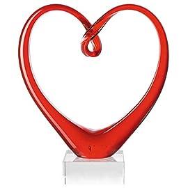 Leonardo Heart Skulptur rot – handgefertigtes Farbglas