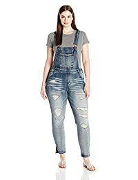 dollhouse Womens Plus-Size Plus Size Destructed Skinny Overall