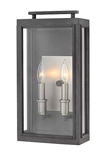 Hinkley 2914DZ-LL Sutcliffe Outdoor Wall Sconce, 2-Light LED 10 Total Watts, Aged Zinc