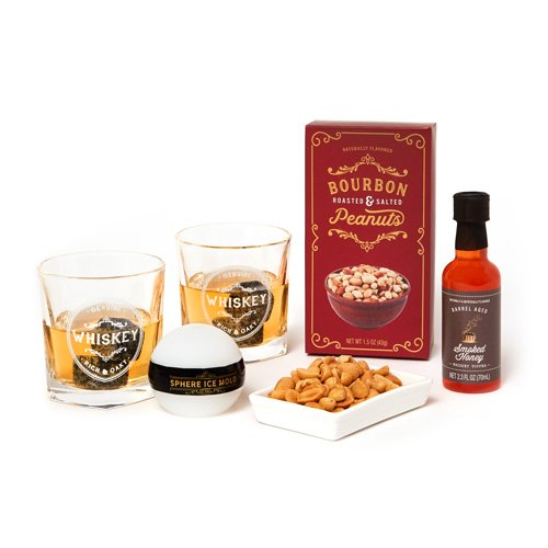 Smoked Peanut (Whiskey Serving Gift Set: A Collection of Whiskey Glasses, Whiskey Chill Stones, A Sphere Ice Mold, Bourbon Peanuts, and Smoked Honey Cocktail Mix)