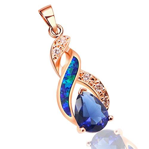 Hermosa Necklace Pendant Silver Rose Gold Australian Opal Fire Topaz (Rose Gold Blue) Australian Opal Necklace