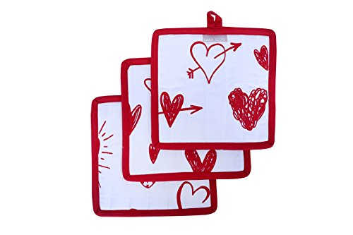 Heart Fabric Holder (Pot Holders, Valentine Hearts Design, Pot Holders Heat Resistant, Made of 100% Cotton, Eco-Friendly & Safe, Set of 3, Pot Holder size 8 x 8 inches, Pot Holders for Kitchen By CASA DECORS)