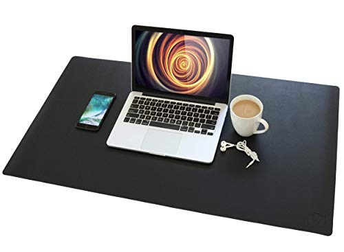 VineCreations Leather Desk Pad Mat Blotter Midnight Black - Premium Quality - Smooth Mouse Writing Surface Waterproof - Maximum Protection for Desk Office/Home (36