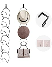 6 Pack Door & Wall Mounted Baseball Cap Hat Rack Holder Multi-Functional Metal Wire Stackable Hat Rack for Baseball Caps, Clothes, Bag, Scarf Hanging Hat Display (Black)