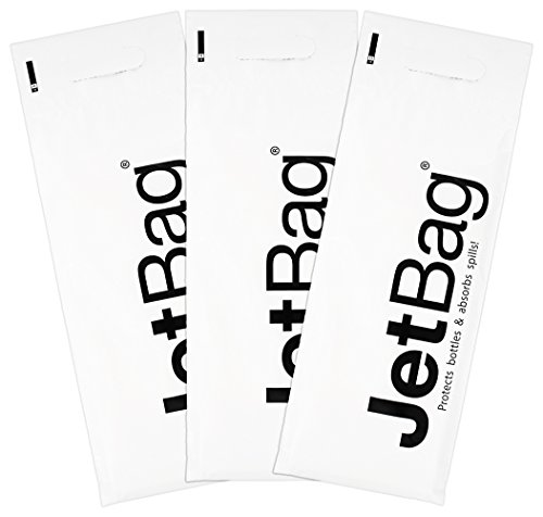 Jet Bag Mono - (Set of 3) The Original Reusable, Protective and Absorbent Bottle Bags for Wine, Growlers or other Liquids Made in the USA!,White (Bag Jet Idea Mia)