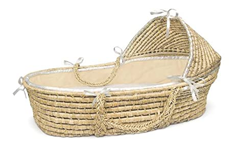 Hooded Moses Basket Natural/Sage Waffle Badger Basket