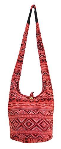 Thai Hippie Hobo Sling Crossbody Shoulder Bag Purse Handmade Zip Ethnic Elephant Cotton Gypsy Boho Messenger Medium (M088)