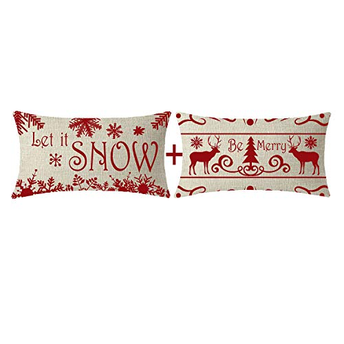 NIDITW Set of 2 Let It Snow Be Merry Deer Beautiful Snowflakes Christmas Trees Lumbar Waist Beige Cotton Linen Decorative Throw Pillow Cover Cushion Case for Sofa Chair Long Rectangular 12x20 Inches