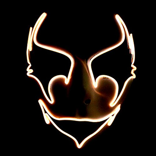 Circle Circle El Wire Glowing Mask Luminous LED Light Up Cool Christmas Halloween DJ Birthday Cosplay Death Grimace Masks for Festival Party Show (Orange)