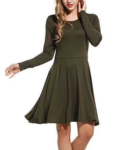 Meaneor Women's Long Sleeve Casual Skater Flare Mini Dress Army Green S (Raglan Flare Dress)