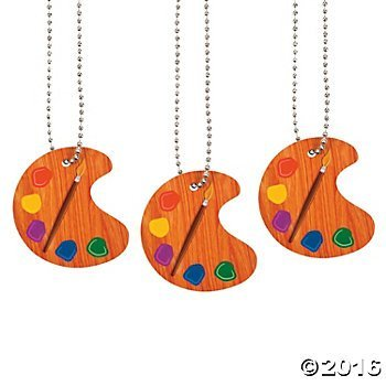 Artist Paint Palette Necklaces - 12 ct (Artist Birthday Party Decorations)