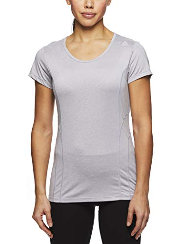 Reebok Women's Dynamic Fitted Performance Short Sleeve T-Shirt - Silver Heather, X-Large