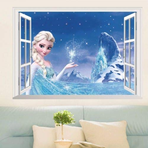 Pleeddfg Frozen Elsa 3D Finestra Vista Decalcomania Muro Adesivo Arredamento Arte murale Disney Kids Prmkesses